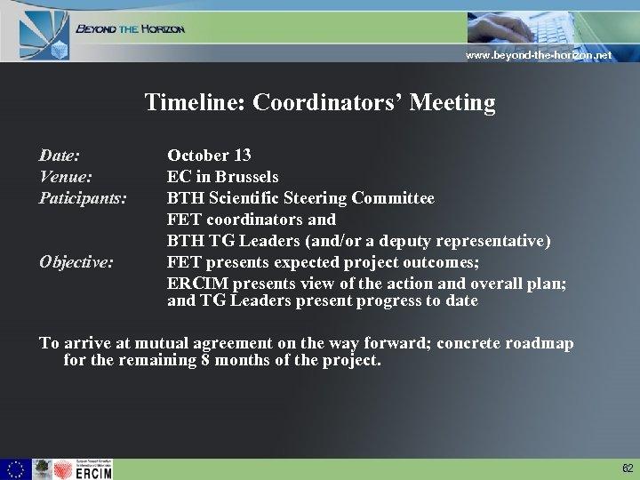 www. beyond-the-horizon. net Timeline: Coordinators' Meeting Date: Venue: Paticipants: Objective: October 13 EC in