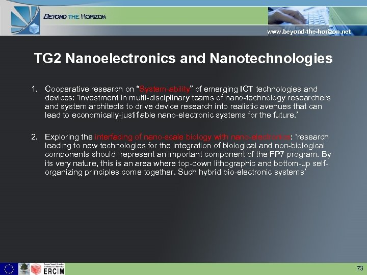 "www. beyond-the-horizon. net TG 2 Nanoelectronics and Nanotechnologies 1. Cooperative research on ""System-ability"" of"