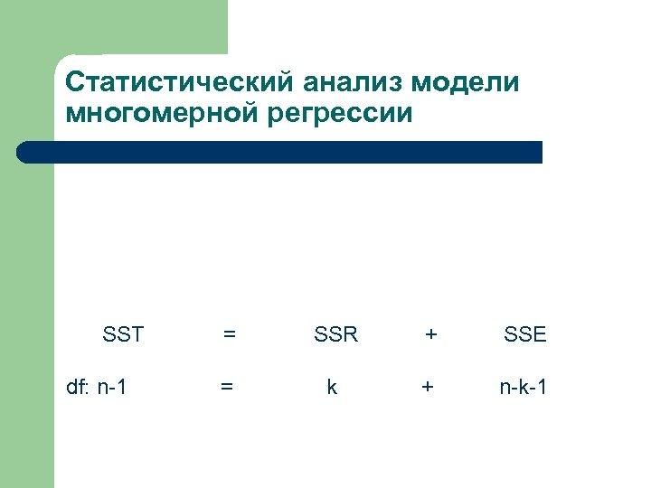 Статистический анализ модели многомерной регрессии SST df: n-1 = SSR + SSE = k