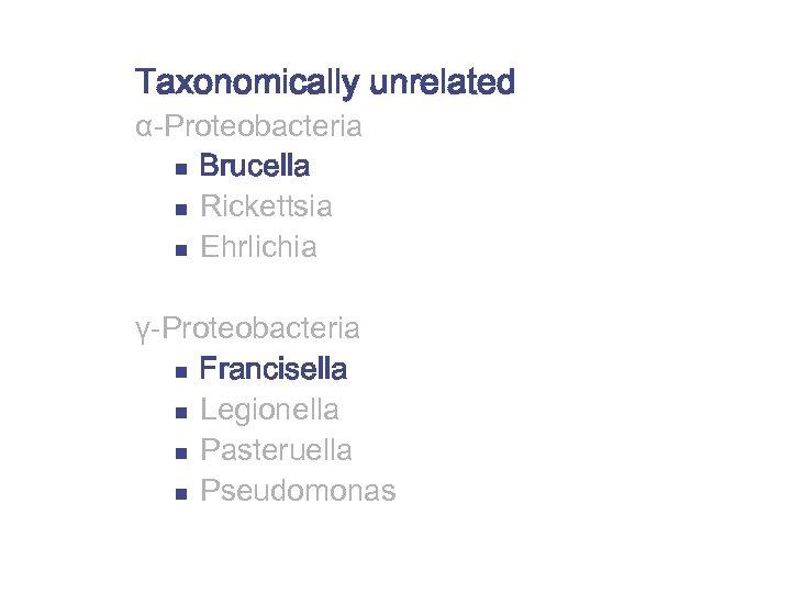 Taxonomically unrelated α-Proteobacteria n Brucella n Rickettsia n Ehrlichia γ-Proteobacteria n Francisella n Legionella