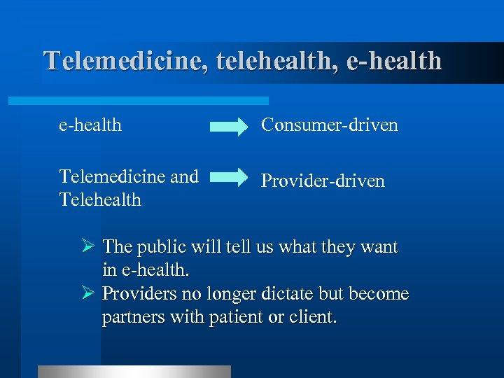 Telemedicine, telehealth, e-health Consumer-driven Telemedicine and Telehealth Provider-driven Ø The public will tell us