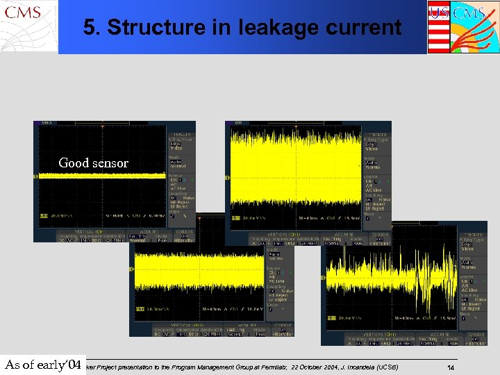 5. Structure in leakage current Good sensor As of early' 04 Project presentation to
