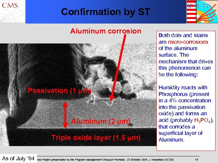 Confirmation by ST Aluminum corrosion Passivation (1 µm) Aluminum (2 µm) Triple oxide layer