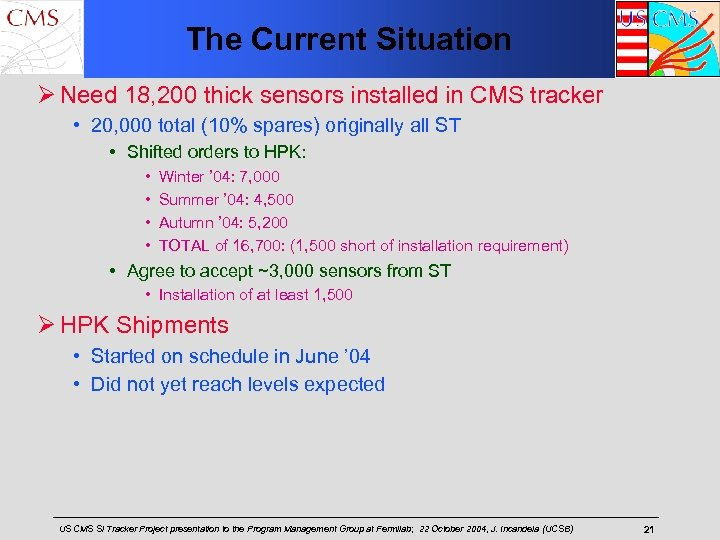 The Current Situation Ø Need 18, 200 thick sensors installed in CMS tracker •