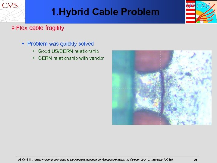 1. Hybrid Cable Problem ØFlex cable fragility • Problem was quickly solved • Good