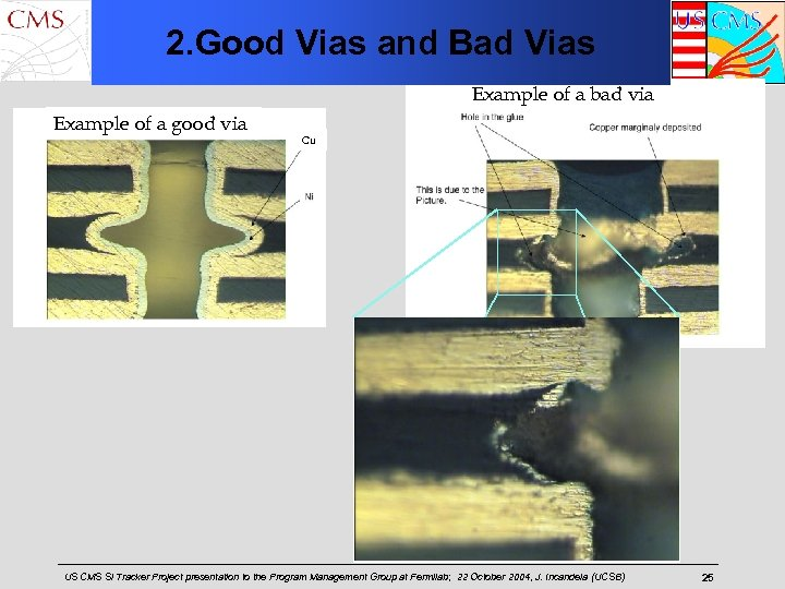 2. Good Vias and Bad Vias Example of a bad via Example of a