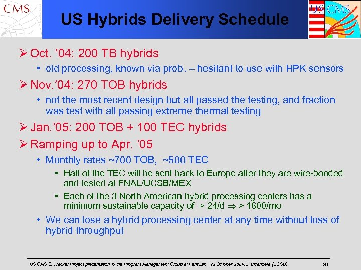 US Hybrids Delivery Schedule Ø Oct. ' 04: 200 TB hybrids • old processing,