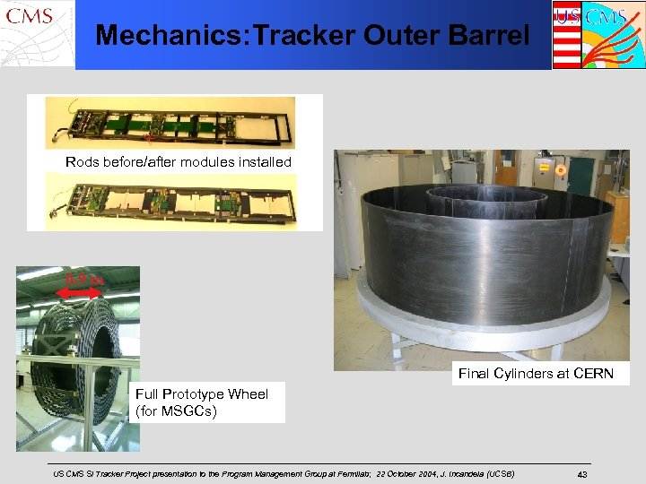Mechanics: Tracker Outer Barrel Rods before/after modules installed 0. 9 m Final Cylinders at