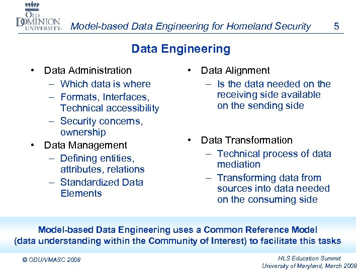 Model-based Data Engineering for Homeland Security 5 Data Engineering • Data Administration – Which