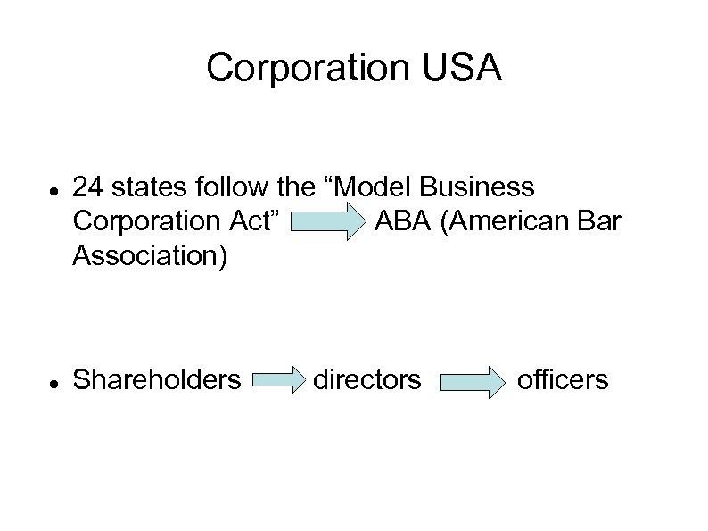 "Corporation USA 24 states follow the ""Model Business Corporation Act"" ABA (American Bar Association)"