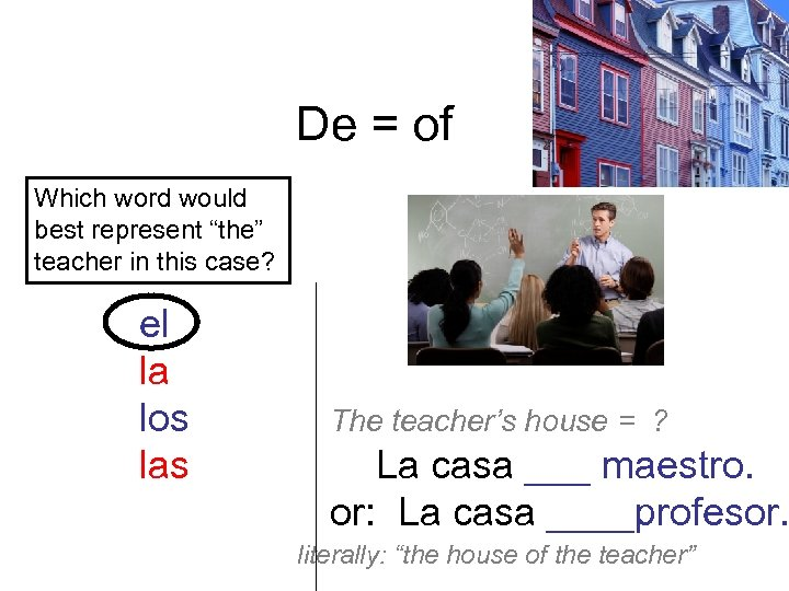 "De = of Which word would best represent ""the"" teacher in this case? el"