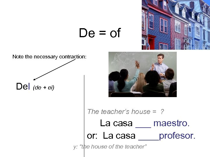 De = of Note the necessary contraction: Del (de + el) De la De