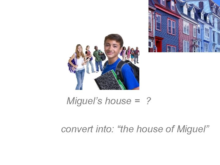 "Miguel's house = ? convert into: ""the house of Miguel"""