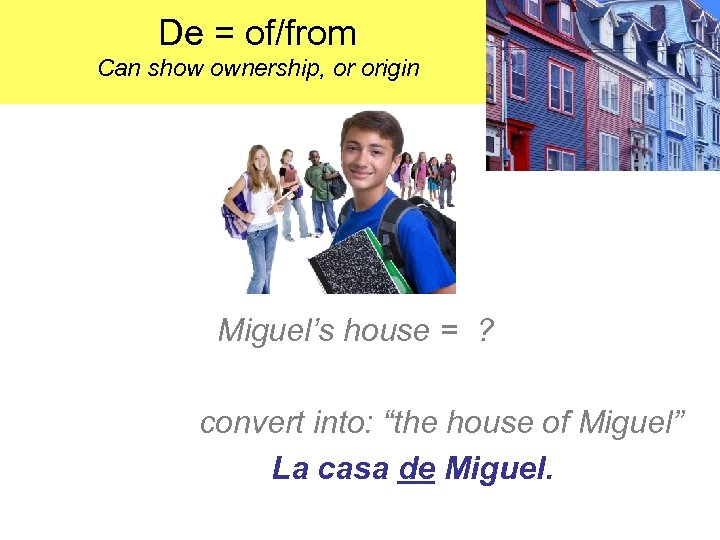De = of/from Can show ownership, or origin Miguel's house = ? convert into: