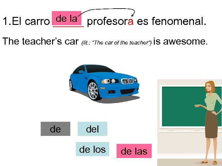 de la 1. El carro _____ profesora es fenomenal. The teacher's car de (lit.