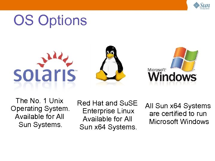 OS Options The No. 1 Unix Red Hat and Su. SE Operating System. Enterprise