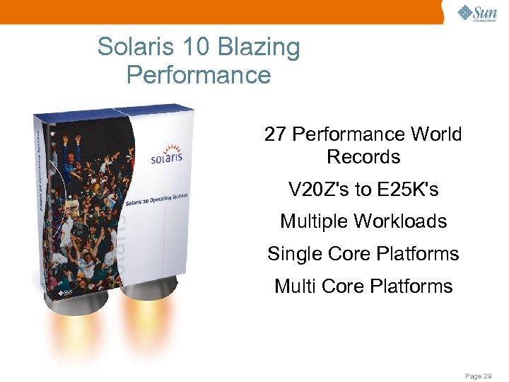 Solaris 10 Blazing Performance 27 Performance World Records V 20 Z's to E 25