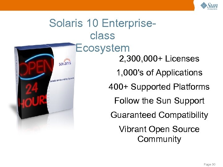 Solaris 10 Enterpriseclass Ecosystem 2, 300, 000+ Licenses 1, 000's of Applications 400+ Supported