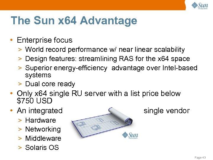 The Sun x 64 Advantage • Enterprise focus > World record performance w/ near
