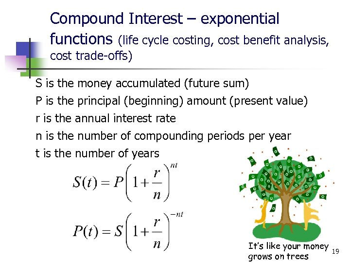 Compound Interest – exponential functions (life cycle costing, cost benefit analysis, cost trade-offs) S