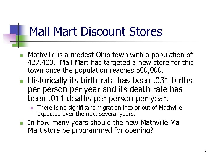 Mall Mart Discount Stores n n Mathville is a modest Ohio town with a