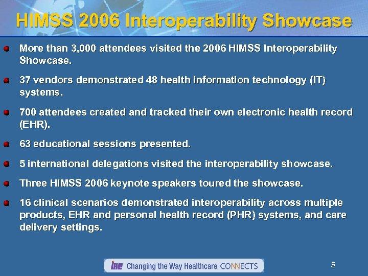 HIMSS 2006 Interoperability Showcase More than 3, 000 attendees visited the 2006 HIMSS Interoperability