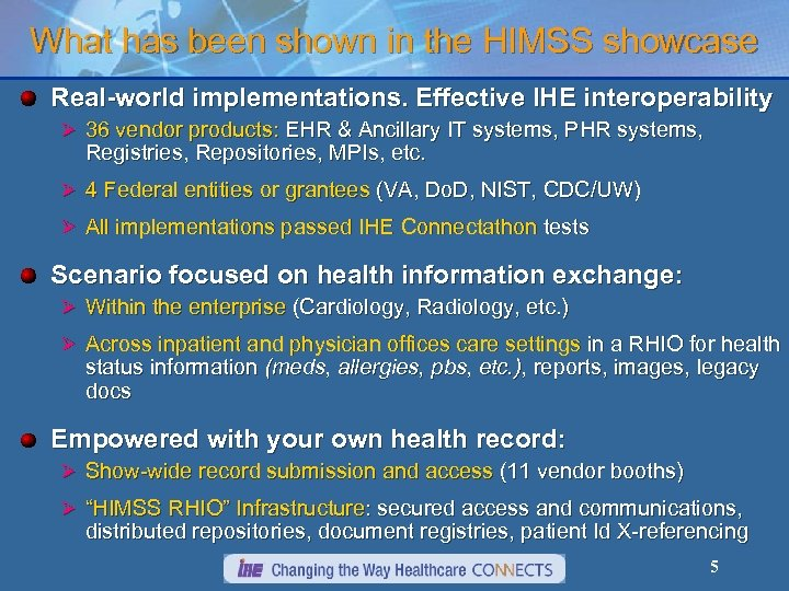 What has been shown in the HIMSS showcase Real-world implementations. Effective IHE interoperability Ø