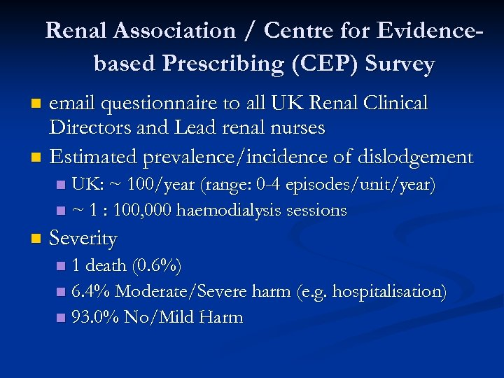 Renal Association / Centre for Evidencebased Prescribing (CEP) Survey email questionnaire to all UK