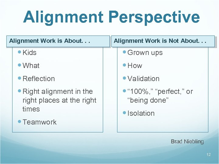 Alignment Perspective Alignment Work is About. . . Alignment Work is Not About. .