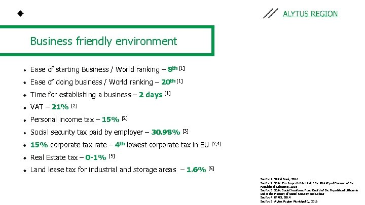 Business friendly environment Ease of starting Business / World ranking – 8 th [1]