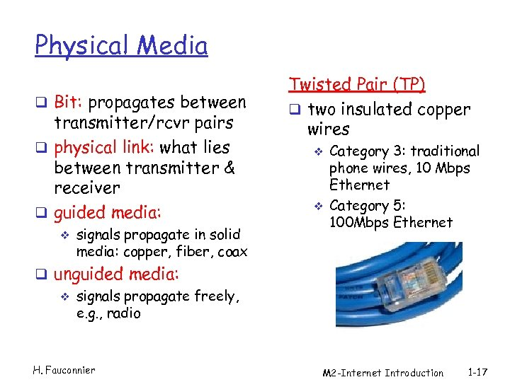 Physical Media q Bit: propagates between transmitter/rcvr pairs q physical link: what lies between