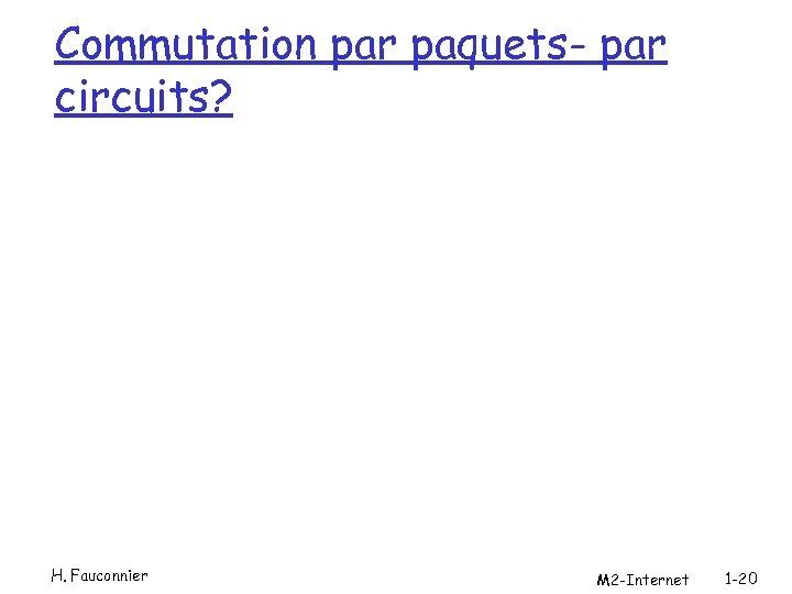 Commutation par paquets- par circuits? H. Fauconnier M 2 -Internet 1 -20