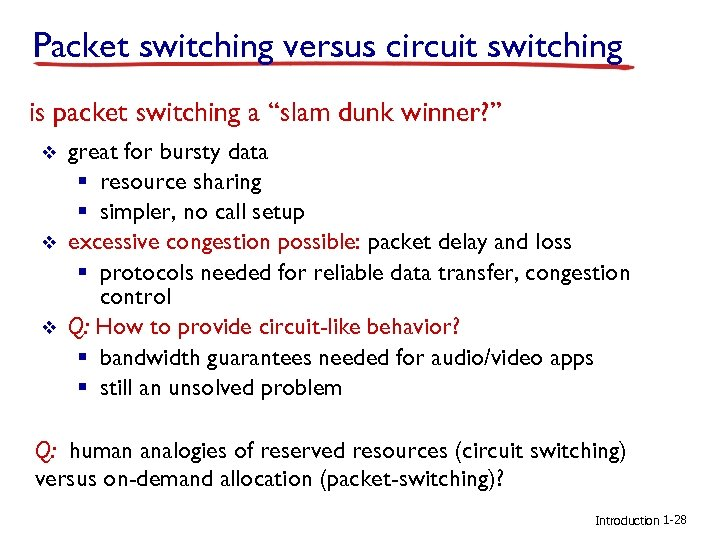 "Packet switching versus circuit switching is packet switching a ""slam dunk winner? "" v"