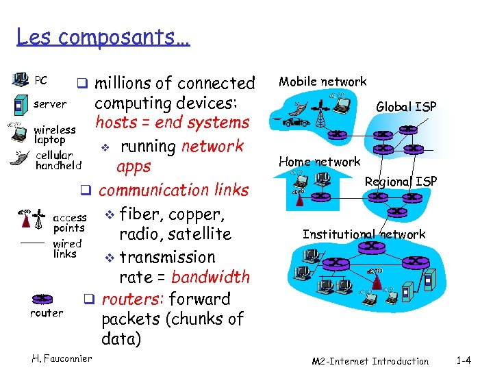 Les composants… PC q millions of connected computing devices: hosts = end systems wireless