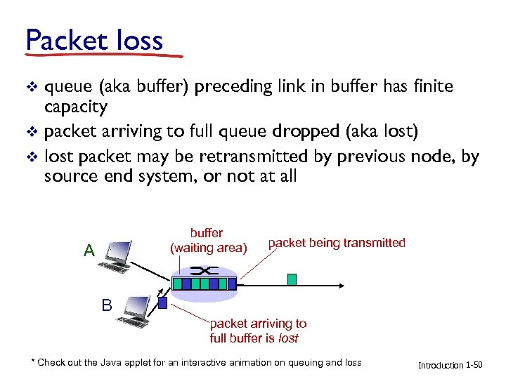 Packet loss queue (aka buffer) preceding link in buffer has finite capacity v packet