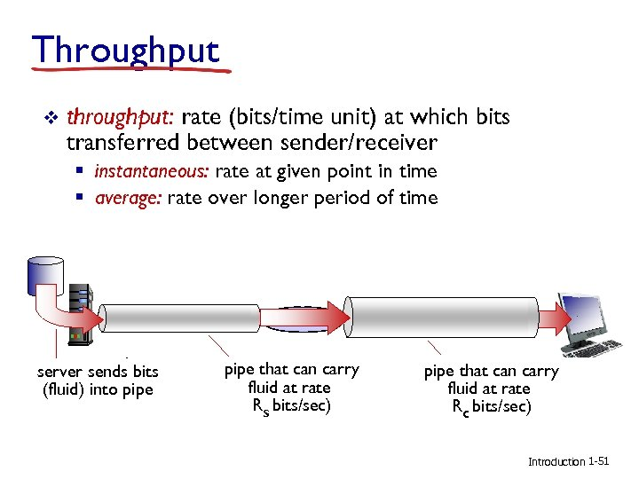 Throughput v throughput: rate (bits/time unit) at which bits transferred between sender/receiver § instantaneous: