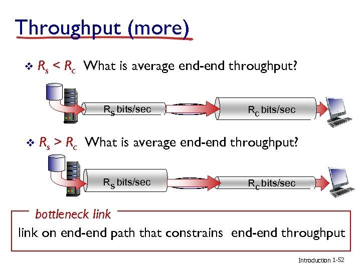 Throughput (more) v Rs < Rc What is average end-end throughput? Rs bits/sec v
