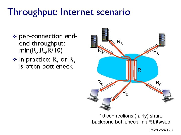 Throughput: Internet scenario per-connection endend throughput: min(Rc, Rs, R/10) v in practice: Rc or