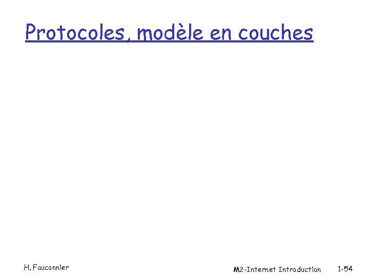 Protocoles, modèle en couches H. Fauconnier M 2 -Internet Introduction 1 -54