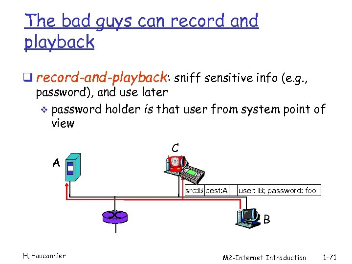 The bad guys can record and playback q record-and-playback: sniff sensitive info (e. g.