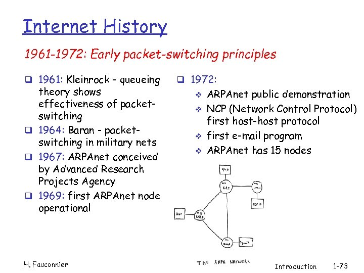 Internet History 1961 -1972: Early packet-switching principles q 1961: Kleinrock - queueing theory shows