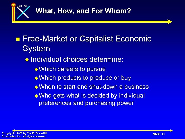 MB MC n What, How, and For Whom? Free-Market or Capitalist Economic System l