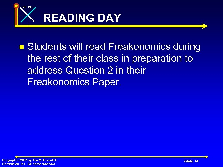MB MC READING DAY n Students will read Freakonomics during the rest of their