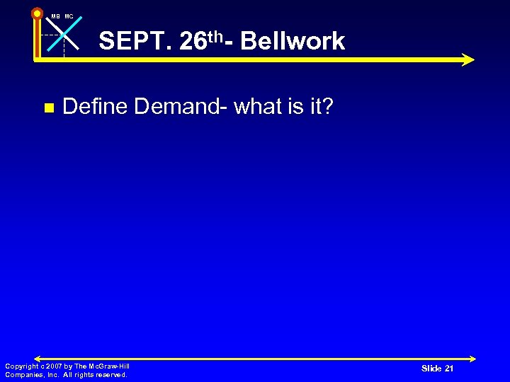 MB MC SEPT. 26 th- Bellwork n Define Demand- what is it? Copyright c