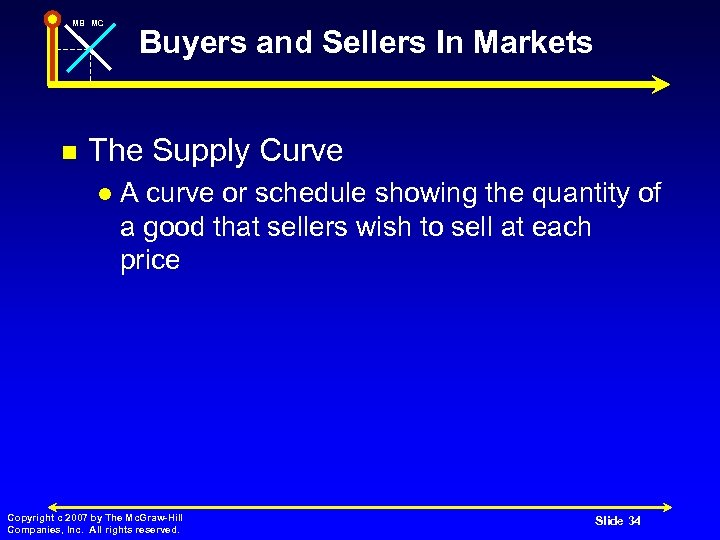 MB MC n Buyers and Sellers In Markets The Supply Curve l A curve