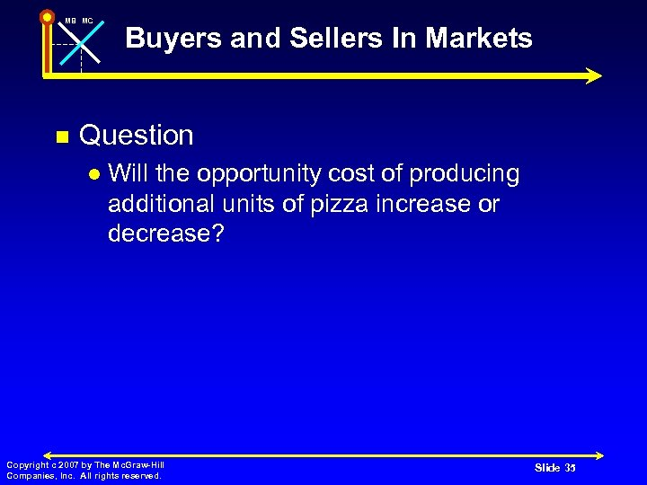 MB MC n Buyers and Sellers In Markets Question l Will the opportunity cost