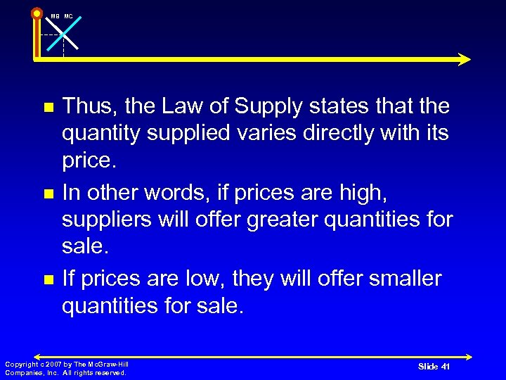 MB MC n n n Thus, the Law of Supply states that the quantity
