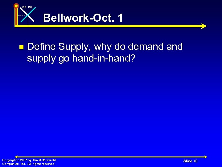 MB MC Bellwork-Oct. 1 n Define Supply, why do demand supply go hand-in-hand? Copyright