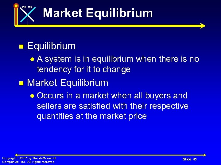 MB MC n Equilibrium l n Market Equilibrium A system is in equilibrium when