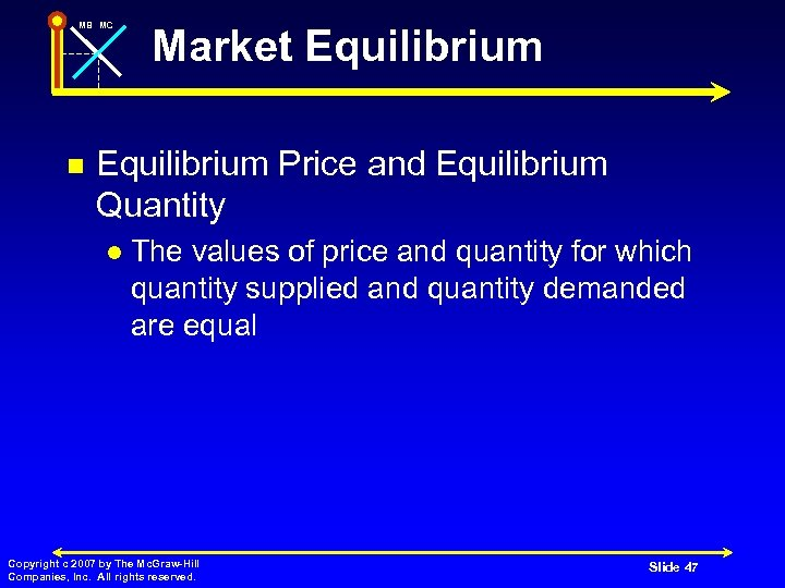 MB MC n Market Equilibrium Price and Equilibrium Quantity l The values of price